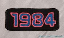 Embroidered Retro Vintage 80s Neon Hot Pink & Blue 1984 Year Patch Iron On USA