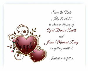 100 Personalized Custom Burgundy Heart Bridal Wedding Save The Date Cards