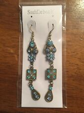 Bronze Vintage Dangle Hook Earrings Nwt New Sapphire Blue Turquoise Crystal