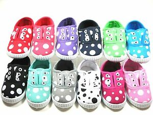 SlipOn Shoes For Baby Toddler Girls Polka Dot  Sz 4 5 6 7 8 9 -- 12 COLORS