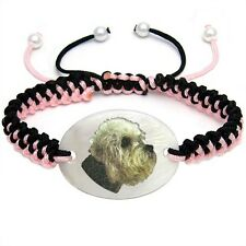 Dandie Dimont Terrier Dog Natural Mother Of Pearl Adjustable Knot Bracelet BS70