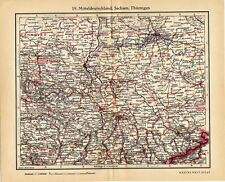 Antique map Middle Germany Saxony and Thuringia 1935