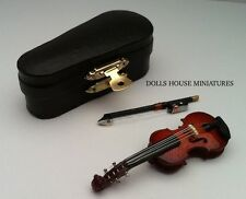 Violin & Case, Dolls House Miniature 1/12 Scale Musical String Instrument