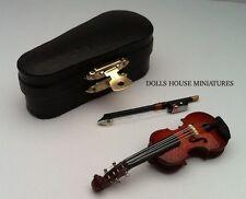 VIOLINO & Custodia, DOLLS HOUSE miniatura 1/12 SCALA MUSICAL stringa Strumento