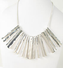 Ralph Lauren Silver Tone Hammered Bar Drop Frontal Necklace $158 NEW