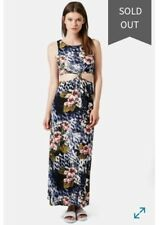 Topshop sz UK 8 Fit AUS 10 Leopard & Floral Print Knot Front Cut Out Maxi Dress