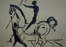 Limited edition Surrealism linocut, horseman, signed Salvador Dali w DOCS