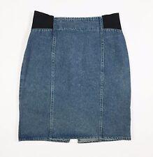 Vintage gonna jeans minigonna tubo aderente w32 46 blu azzurro usato spacco T976