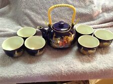 Made In Taiwan Cobalt Blue Teapot With 6 Cups - A Gold Phesant Bird Design