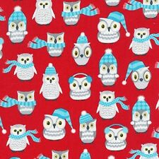 Robert Kaufman Polar Pals fabric. Christmas 2016. Winter Owls in Red. PER FQ