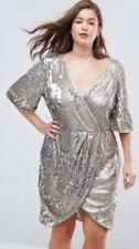 TFNC London ASOS  Silver & Matte Sequin Dress Size 18