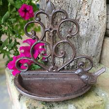 Vintage Cast Iron Ornate Wall Mounted Garden Ornament Outdoor Bird Bath Feeder