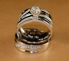 White Gold Finish Engagement Ring/ Multi Wedding Bands Set His And Hers L 8 M11