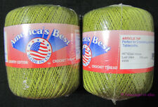 Americas Best Crochet Cotton Bedspread Thread Size 10 Khaki Green 2 Balls 350 Yd