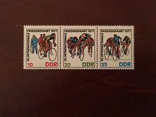 GERMANY EAST DDR MNH 1977 CYCLE RACE SPRINT FINISH LINE WHEEL CHANGE STRIP