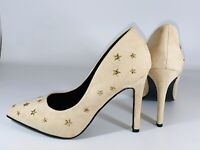 Ideal Shoes Women's Studd Star Beige Faux Suede Pointed Courts Size 3 UK 36 Eur
