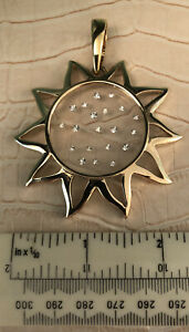 Pierre Lang Large Gold Plated & Rhinestone Sun Pendant With Sprung Clip Bail