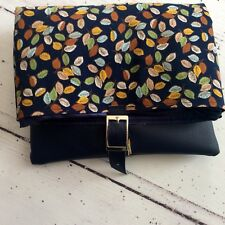 Navy Faux Leather Leatherette Floral Leaf Print Silver Buckle Clutch Bag
