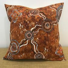 "ABORIGINAL Fabric Cushion Pillow Cover. Made Australia. 18"" (45cm)"