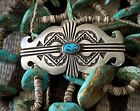 Vintage NAVAJO Sterling Silver and Kingman Turquoise Pin