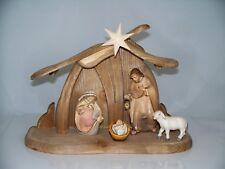 Weihnachtskrippe Holz geschnitzt: Stall + 6-teiliges Figuren Set 9 cm neu Krippe