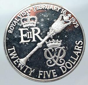 1975 BERMUDA British Colony Elizabeth II ROYAL VISIT Proof Silver 25 Coin i85617