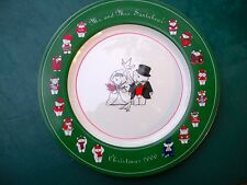 "Mr. & Mrs. Santabear, Bride & Groom Charger Plate - Christmas, 2000 -12"" Inches"