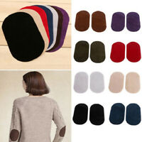 1 Pair DIY Repair Sewing Applique Suede Leather Iron-on Oval Elbow Knee Patches