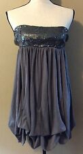 Steve Madden Gray Sequin Bodice Tie Skirt Gathered Strapless Dress Junior sz XS