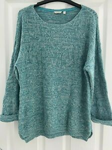 Ladies Fat Face Green Cotton Jumper Size 16 - good used condition