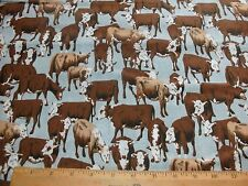 Western Cowboy Quilt Fabric Cattle Drive Denim Look Country Cows Bty