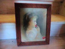 """Huile sur toile.Portrait """"La petite fille aux fraises"""" signé Mary Jane.Encadré."""