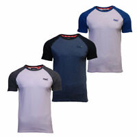 Superdry New Mens Orange Label Baseball Short Sleeve T-Shirt White Grey Blue