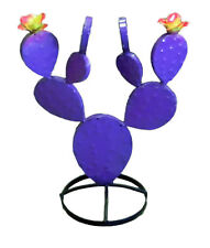 Mexican Metal Prickly Pear Cactus Purple Metal Art