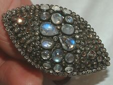 Moonstone Diamond Ring  3.77 carats of Diamonds  - SILVER HUGE RING