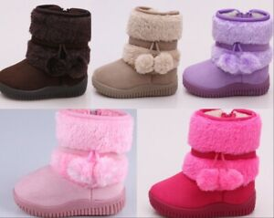 Toddler Baby Girls Boys Fur Snow Boots Children Winter Warm Ankle Boots Shoes