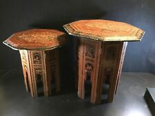 Pair Antique Tibetan Indonesian LACQUERED & DECORATED OCTAGONAL FOLDING TABLES
