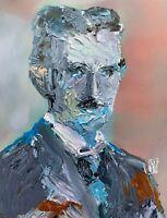 Abstract Portrait Nikola Tesla Inventor Engineering Wall Art Original Painting