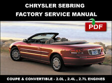 CHRYSLER SEBRING CONVERTIBLE 2001 2002 2003 2004 2005 2006 SERVICE REPAIR MANUAL