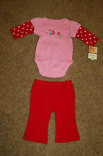 NWT Carter's Infant Girl Bundle of Love Red Pink Polka Dot 2 Pc Set Size 6M Nice