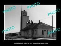 OLD LARGE HISTORIC PHOTO OF MANKATO KANSAS ROCK ISLAND RAILROAD DEPOT c1960