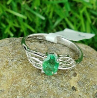 925 Sterling Silver Natural Emerald Oval Cut Perfect Valentine Gift Ring US-8