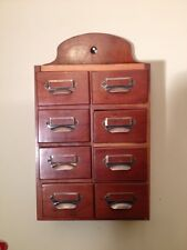 Apothecary Spice Chest Cabinet 8 Drawers, Overall size 11.5 x 5.25 x 18 tall