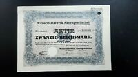 Rarität Weisseritztalwerk AG 20 RM 1924 Dippoldiswalde Sa.