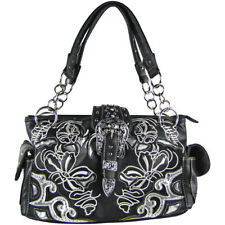 BLACK FLOWER STITCHED STUDDED BUCKLE LOOK SHOULDER HANDBAG CONCEALED CARRY PURSE