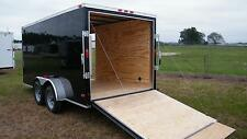 7x12 Enclosed Cargo Trailer Tandem Double Dual Axle Motorcycle Landscape
