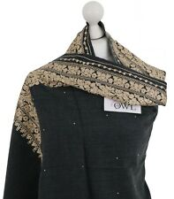 Soft Dark Grey Gold Indian Embroidered Shawl Stole 100% Wool Pashmina Scarf Wrap