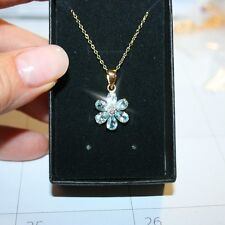 Blue Topaz Diamond Flower Pendant Necklace 14k Yellow Gold Over 925 SS