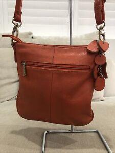 Gorgeous Ada G Leather Handbag Purse Excellent Condition Orange Shoulder Bag [B]