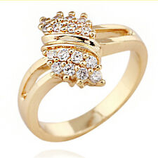 Female Wedding Engagement Rings Gold Wave Zirconia Crystal Ring Jewelry Gifts 6A